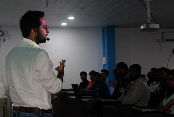 Hiten Rajgor giving a talk