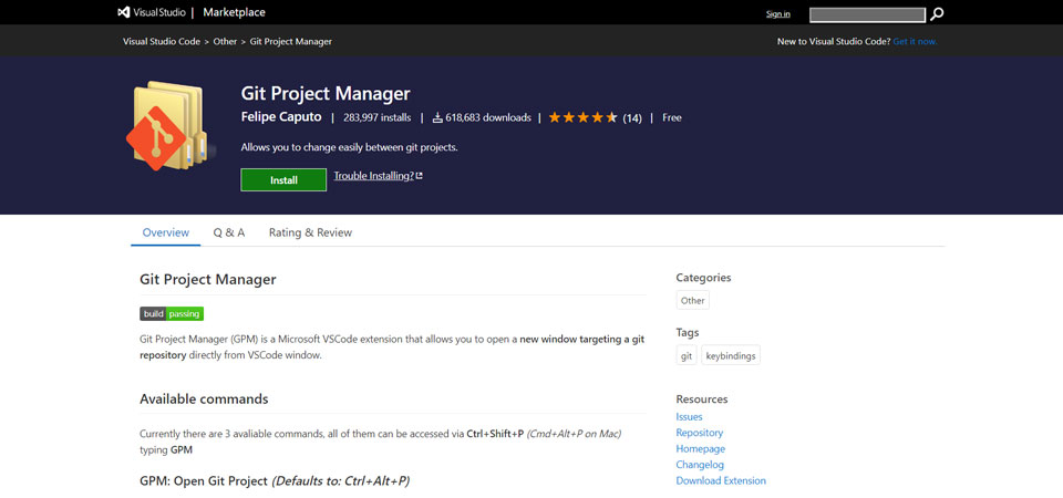 Git Project Manager extension