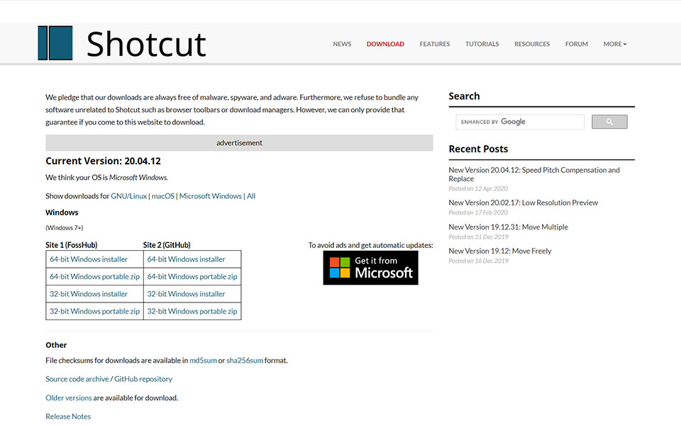 Shortcut Video editing tool
