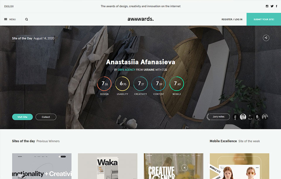 Awwwards UI design Inspiration website