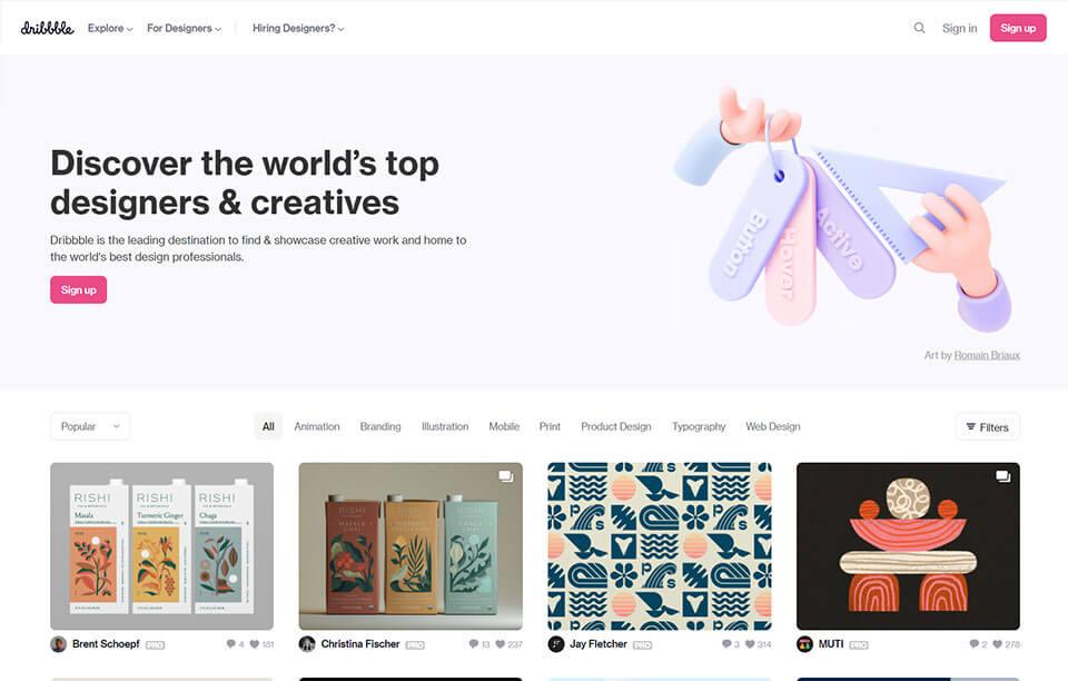 Dribbble - digital designer's website