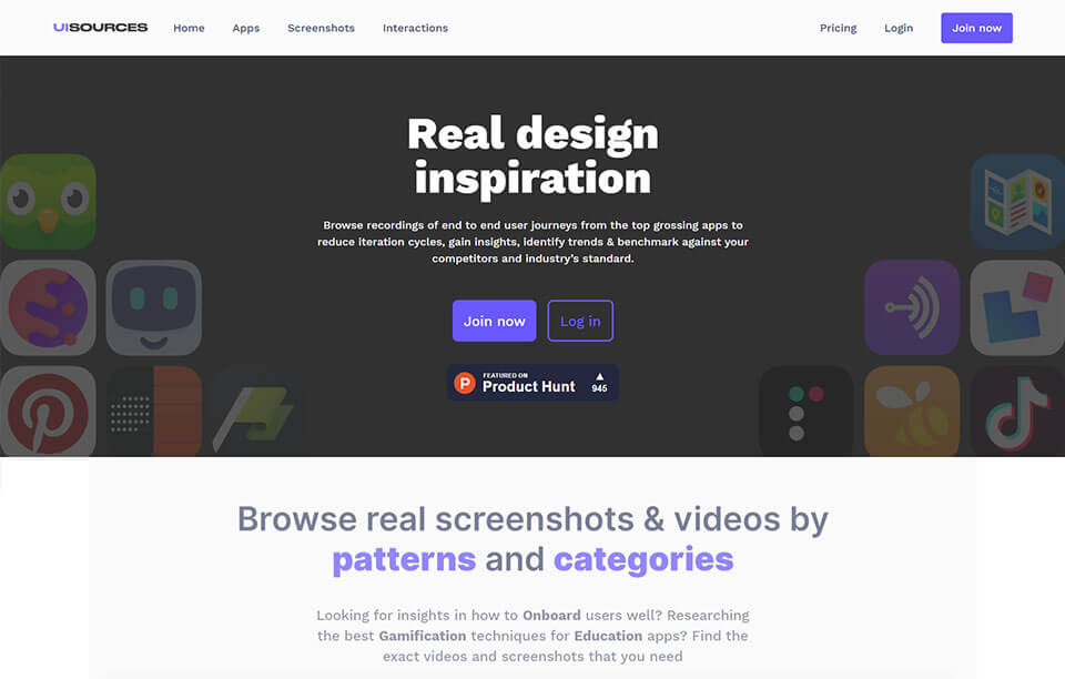 uisources design Inspiration website